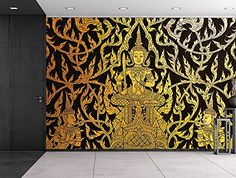 Wall26® - Black and Gold traditional Thai temple painting... https://www.amazon.com/dp/B01C739FGC/ref=cm_sw_r_pi_dp_9juNxbJ2A8RRC