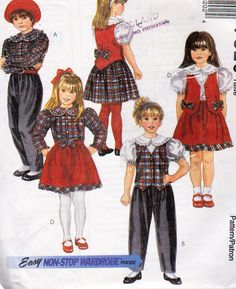 Girls Size 4,5,6, Non Stop Wardrobe Pattern - Front Button Blouse - Lined Vest - Pull on Pants Side Seam Pockets  - Pull On Skirt Pockets by OnceUponAnHeirloom on Etsy