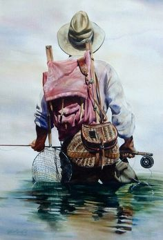 Original Watercolor Paintings – Fly Fishing & Cowboy Art - Nelson Boren Fishing is undoubtedly Trout Fishing, Fishing Lures, Fishing Tips, Fishing Shirts, Fishing Apparel, Fishing Basics, Fishing Knots, Fishing Tackle, Cowboy Art