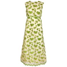 1960s Bob Bugnand Creme and  Green Cotton Embrodered Sleeveless Sheath Dress | From a collection of rare vintage casual-dresses at https://www.1stdibs.com/fashion/clothing/day-dresses/casual-dresses/