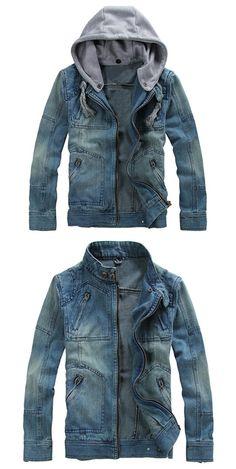 Zippered Removable Hood Denim Jacket - Denim Blue M Denim Jacket Fashion, Denim Jacket Men, Mens Fashion, Men's Denim, Men's Coats And Jackets, Winter Jackets, Cheap Mens Jackets, Trends, Mens Clothing Styles