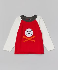 Another great find on #zulily! Red & White Baseball Sweater - Infant, Toddler & Boys #zulilyfinds