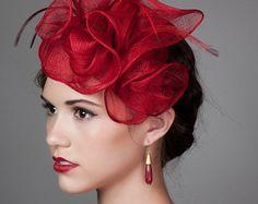 Fascinator Hat in Magenta Fuchsia Hot Pink. Sinamay by millistarr