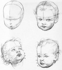 New baby face drawing sketch ideas Pencil Art Drawings, Realistic Drawings, Drawing Sketches, Pencil Sketching, Drawing Heads, Painting & Drawing, Drawing Drawing, Drawing Faces, Drawing Reference