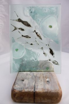 Reserved for Rebecca Paradis: Shoal of Silver Fish Fused Glass Art made from recycled glass.... £55.00, via Etsy.