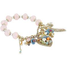 Betsey Johnson Weave and Sew Multi Woven Half Stretch Bracelet ($55) ❤ liked on Polyvore featuring jewelry, bracelets, gold tone bracelet, charm bangle, chain bracelet, woven bracelet and womens jewellery