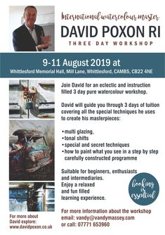 Three day workshop with David Poxon RI in the heart of South Cambridgeshire. Students will learn new techniques in watercolour excellence. Painting Workshop, About Uk, Cambridge, Watercolour, Students, David, Memories, Pure Products, Heart
