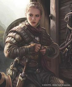Female warrior with padded leather armour and shiled and sword. RPG character inspiration for fighters Fantasy Warrior, Fantasy Rpg, Medieval Fantasy, Fantasy Girl, Fantasy Artwork, Woman Warrior, Fantasy Princess, Fantasy Art Women, Disney Princess