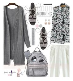 """""""Beautifulhalo.com: Good Morning!"""" by hamaly ❤ liked on Polyvore featuring Rebecca Minkoff, Chiara Ferragni, Benefit, ootd, cardigan, blouse, pants and beautifulhalo"""