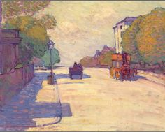 Robert Bevan. Adelaide Road in Sunlight. ca.1910. Adelaide Road (London, NW3) is only five minutes away from Adamson Road, Hampstead, where Robert Bevan lived from 1900-25.  Horse-drawn public transport had long disappeared by the time the artist came to paint a similar view of Adelaide Road twelve years later - http://en.wikipedia.org/wiki/Robert_Bevan
