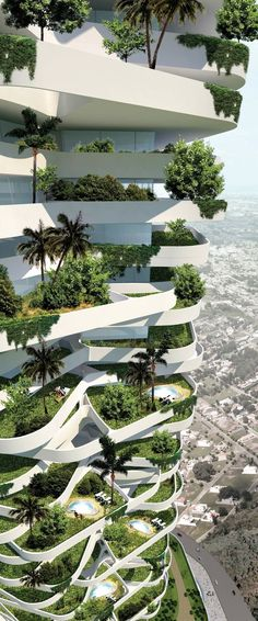 The oxygen eco tower in Jakarta, Indonesia is over 277 meters high and surrounded by square meterses of parkland. // The Oxygen Eco Tower in Jakarta, Indonesia, is over 277 meters high and surrounded by square meters of green space. Architecture Durable, Baroque Architecture, Futuristic Architecture, Sustainable Architecture, Sustainable Design, Amazing Architecture, Contemporary Architecture, Landscape Architecture, Interior Architecture