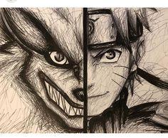 Naruto E Kurama, Art Naruto, Naruto Shippuden Anime, Anime Naruto, Manga Anime, Boruto, Naruto Sketch Drawing, Naruto Drawings, Anime Sketch