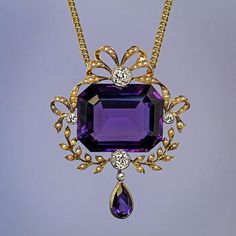made in Moscow between 1908 and 1917 An antique gold necklace features a large step cut amethyst of a velvety royal purple color accented by four old Purple Jewelry, Amethyst Jewelry, Amethyst Necklace, Diamond Jewelry, Gold Jewelry, Fine Jewelry, Pendant Necklace, Gold Necklace, Silver Earrings