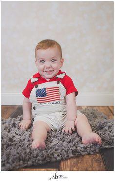 baby, boy, studio, photography, portrait, new bern, sera bella photography, nc, 6 months old, flag, america, usa