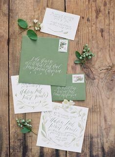 Romantic sage green wedding invitations with a hand-lettered vibe #greeninvitations| Feast and Jose Villa