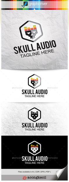 Skull Audio — Vector EPS #group rock #musician • Available here → https://graphicriver.net/item/skull-audio-/10132081?ref=pxcr