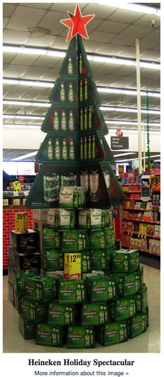 Eyecatch Christmas display from |Heineken taking advantage of the brand's naturally Christmassy colours and shapes