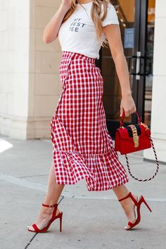 Ruffle wrap skirt outfit, spring outfit ideas, gingham ruffle midi skirt with strappy red heels