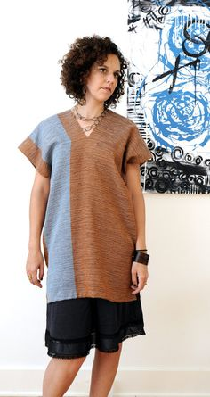 Burnt Sienna and sky blue  handwoven tunic cotton top