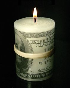 DIY candle - wrap, or dip fake money with paraffin