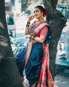 Marathi Nath, Marathi Saree, Kashta Saree, Sarees, Maharashtrian Saree, Marathi Wedding, Nauvari Saree, Saree Look, Dresses Kids Girl