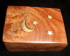 Wooden Box Small with Inlaid Brass Stars and Moon