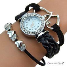 Damen Armbanduhr Herzen mit Strass Kunstleder schwarz