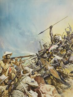 The Fight for the Land of Gold and Diamonds (Original) art by James McConnell at The Illustration Art Gallery Military Art, Military History, Military Figures, Zulu Warrior, Art Folder, War Image, Le Far West, British Colonial, Gouache Painting