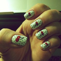 Retro cherry nail art!