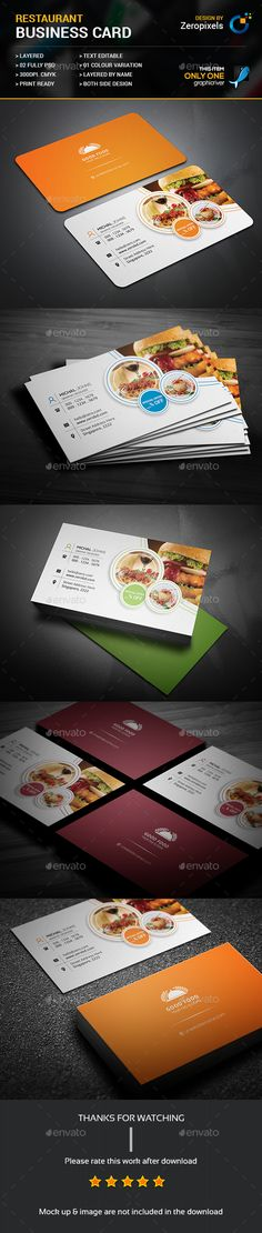 Restaurant Business Card Template PSD. Download here: https://graphicriver.net/item/restaurant-business-card/17465364?ref=ksioks