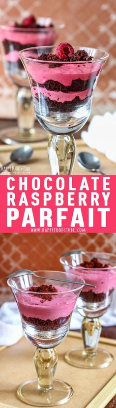 Chocolate Raspberry Parfait is an easy dessert that anyone can do. Moist chocolate cake and creamy raspberry mousse layered into glasses will definitely be a hit at your dining table. #chocolate #raspberry #parfait #dessert #recipe #mascarpone #valentinesday via @happyfoodstube