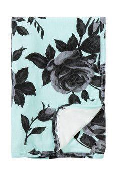Mad Sky Mint Roses Stroller Blanket