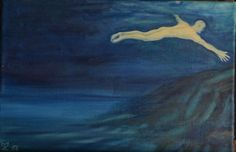 Swimmer (50 x 33 cm) Levitation in the sea. FOR SALE 135 EUR