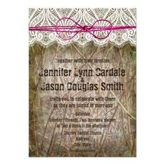 Rustic Country Camo with Pink Twine Bow Wedding Invitations. Two Sided Design. http://www.zazzle.com/rustic_country_camo_pink_bow_wedding_invitations-161674985884141311?rf=238133515809110851