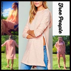 """FREE PEOPLE Hoodie Tunic Oversized Cape Mini NEW WITH TAGS  RETAIL PRICE: $118 ***Model photos from Aprils2ndcloset & WWW.Lyst.com   Free People Tunic Hoodie Pullover   * Oversized & relaxed loose knit A-line silhouette   * Incredibly soft, stretch-to-fit fabric   * Higher neck & side vents   * About 31""""  long.   * Attached hoodie. Tagged XS-S,oversized-will fit approx XS-M.   Fabric:100% cotton  Color:Pink Sand Item: 8170  No Trades ✅ Offers Considered*/Bundle Discounts✅  *Please use the…"""