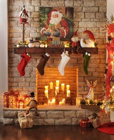 Love the candle holder w/candles inside the fireplace!