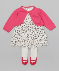 Love this Little Beginnings White & Pink Floral Dress Set - Infant by Little Beginnings on #zulily! #zulilyfinds