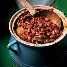 Appalachian Cider Baked Beans.....fresh apple cider, salt pork, sorghum...long cooking, but sounds delish!