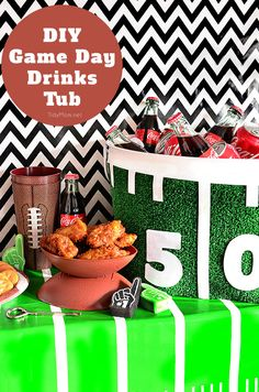 This DIY Football Drinks Tub from our partner Cheryl is perfect for serving iced up Coke to your family and guests at your next tailgate or home football party. Repin to show us your ultimate game day party board!