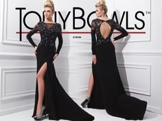 Long sleeve jersey gown with bateau neckline features sheer lace on shoulders and upper bodice, beaded accents on sleeves and bodice, open keyhole back and full skirt with side, front slit. Perfect as a pageant gown, formal dress or for red carpet events.  Sizes: 0 - 16
