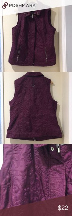 CJ Banks Quilted Vest in Dark Purple. Sz 2X Perfect for cooler temps! CJ Banks quilted vest. Color: purple. Light fabric. Zipper closure. Size 2 X. Measures 24.5 inches pit to pit. Length from back collar to bottom hem is 27 inches. Excellent condition. CJ Banks Jackets & Coats Vests