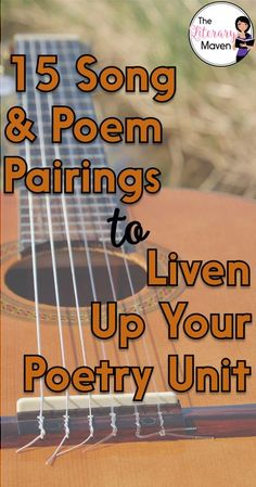 Many students are intimidated by poetry, so using music can help you ease them into poetry analysis as there's really no difference between looking at the lyrics of a song and the lines of a poem. Read on for 15 song and poem pairings that will liven up y Poetry Lesson Plans, Poetry Lessons, Math Lessons, Poetry Classes, Spanish Lessons, Learning Spanish, Teaching Poetry, Teaching Writing, Teaching Literature