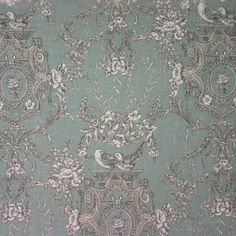 Composition: Linen Cotton, Use: Curtaining & Upholstery Width: Pattern: Floral,Toile, Pattern Repeat: V Toile Wallpaper, French Country Cottage, Duck Egg Blue, Cottage Interiors, Kitchen Curtains, Wall Treatments, Print Pictures, Versailles, Fabric Patterns