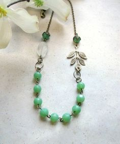 Mint green necklace vintage style cottage chic by BotanicalBird