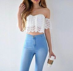 Crop Top Outfits The summer season demands light, airy, breathable dresses in fabrics like cotton and in soft, muted colors that reflect the sunlight. There are multiple options for women's s… Teen Fashion Outfits, Mode Outfits, Girly Outfits, Outfits For Teens, Girl Fashion, Teens Clothes, Women's Clothing, Teen Party Outfits, Unisex Outfits