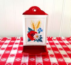 Vintage Tin Litho Match Box Holder Red Poppy Daisy Blue Corn Flowers. $22.00, via Etsy.--mod podge a design on my thrifted match holder and paint blue, maybe?