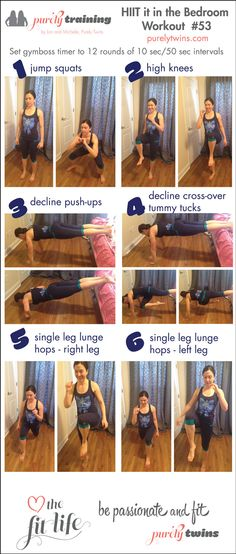 12 minute bodyweight HIIT in the Bedroom purely training workout #53. A fast moving workout that targets the abs, arms, and legs. #purelyfitlife #fitfluential #onlineworkouts