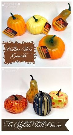 Create Stylish Fall Decor from Dollar Store Gourds. It is amazing what a little paint can do.