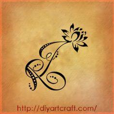 Stelle fiori di loto e farfalla: AJ lettere tattoo fantasy | tattoo diyartcraft