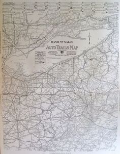 1924 RARE Ohio Map AUTO TRAILS Map of Pennsylvania Map Michigan Map